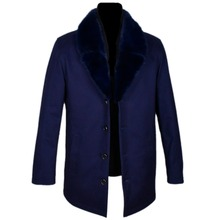 Dark blue Men coat Large size Nick clothing fur Mink collar leather suit Rex is not removable liner Factory direct supplier
