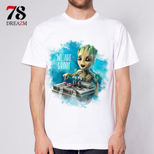 Guardians of the Galaxy 2 movie Anime baby groot new fashion 2017 mens t shirt T-shirt male top funny Tshirt white tops tees(China)