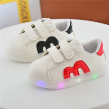 2017 Children casual Fashion with M letter shoes Kids Boys Girls Shoes Board PU Shoes with LED Lighted 4colors Shoes 21-30 TX07
