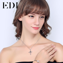 EDI Fashion Genuine Cross Natural Black Sapphire Gemstone necklaces & pendants 925 Sterling Silver Jewelry for women 2017 New(China)