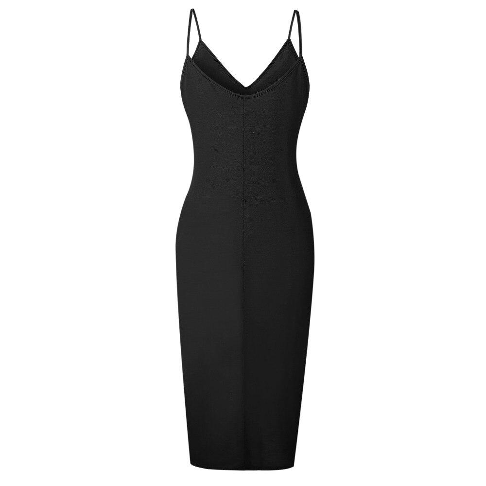 TQNFS Deep V Neck Bodycon Dress Women Sleeveless Casual Summer Dress Women Solid Split 2018 Spring Dresses Robe Femme 7