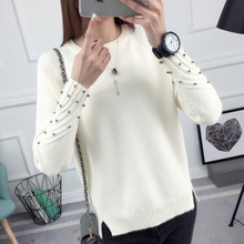 2017 new fashion autumn winter sweater women knitted Beading twisted thickening O-neck long sleeves loose women sweater pullover