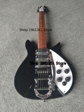 New Black Rick 325 Model 3 Pickup Bigsby Tremolo Electric Guitar(China)