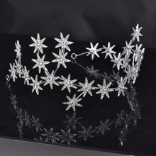 Gorgeous Sparkling Silver Crystal Star Bridal Tiara Flash Rhinestone Pageant Crown Soft Chain Headbands Wedding Hair Accessories