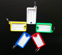 100Pcs 2- sides Plastic Rectangle Keychains luggage tag  key ID Label for hotel  -Free Shipping