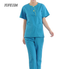 Women Hospital Medical Scrub Clothes Set Medical Nursing Scrubs Uniform Set Lab Hospital Women Men Uniform Top and Pants(China)
