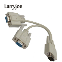 Larryjoe 15 Pin VGA Male to 2 Female Y Splitter Cable SVGA Monitor Adapter Extension Converter Video Cable Lead for PC,TV