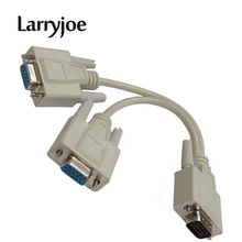 Larryjoe 15 Pin VGA Male to 2 Female Y Splitter Cable SVGA Monitor Adapter Extension Converter Video Cable Lead for PC,TV(China)
