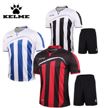 KELME Striped Soccer Jerseys  2016 2017 pro Soccer Uniform survetement Short Sleeved Football Set maillot de foot Customize Logo