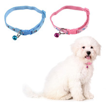 Blue/Pink Nylon Cloth Pet Collar Bells Small Pets Collar Bells Dog puppy cat collar for small pets Teddy Pet Decoration(China)