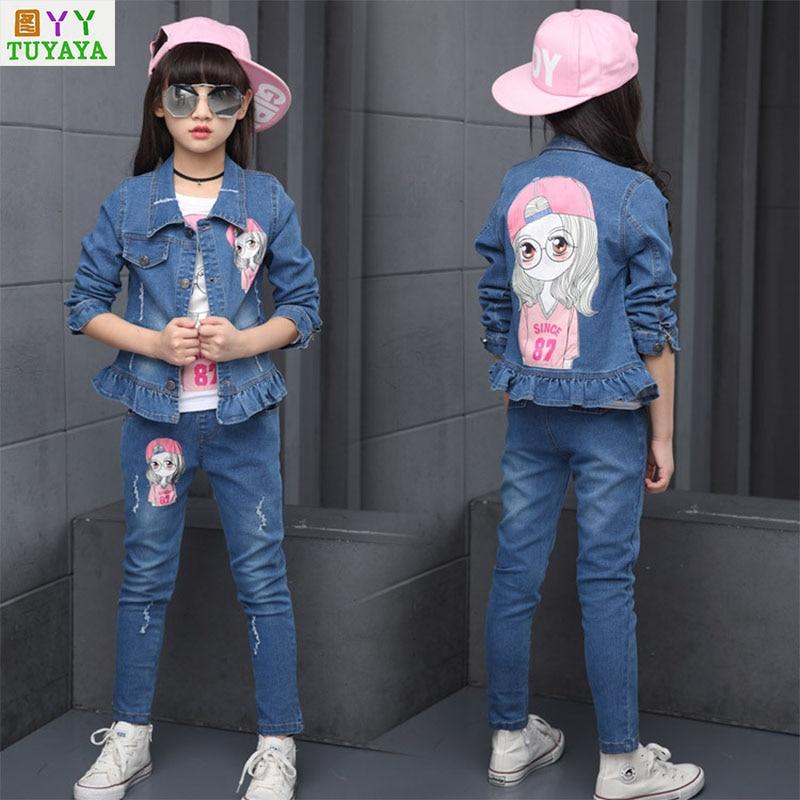 Toddler Tracksuit Spring Flower Set for Girls Children Girls Fashion Brand Clothes Kids Demin Jeans Jacket+ Pants 2 Pcs Suits<br>