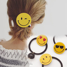 Smiley Emoticons Yellow Round Face Hair Bands Elastic Hair Holder Whatsapp Emoji Children Hair Accessories Girls Kids Christmas(China)