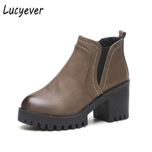 Lucyever Women Fashion Motorcycle Boots Punk Mixed Colors Martin Boots Faux Leather Short Plush High Heels Winter Chelsea Boots(China)