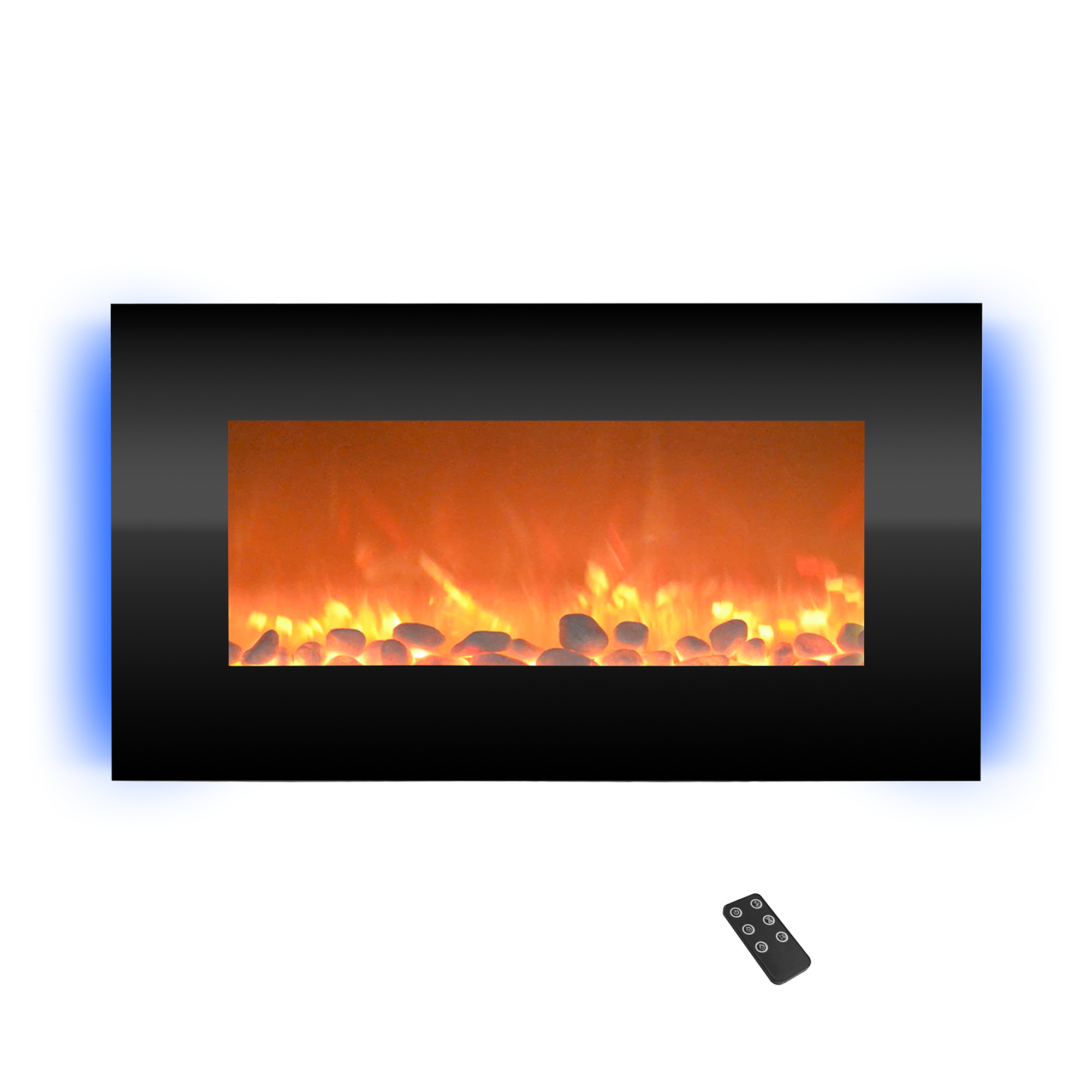 Electric Fireplace Wall Mounted Adjustable Heat Remote Backlight Colors Timer LED Flames 30.5 Inches
