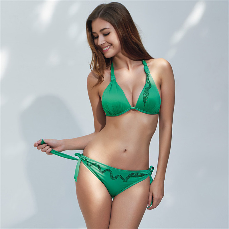 Strappy Bandage Bikinis Set Womens Push Up Bra Bikini Green Swimsuit Elastic Swimwear Sexy Bathing Suit Maillot De Bain E685<br><br>Aliexpress