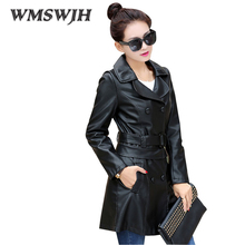 Autumn New Women's  PU Leather Jacket Large Size Slim Mid Long Wind Coat Fashion Temperament Leather Coat Two Ways of Wearing