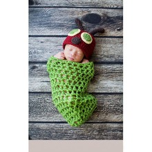 Newborn Baby Photography Props Crochet Baby Clothes Animal design Caterpillar style Baby Beanies and sleeping bag