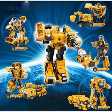 Alloy Engineering Transformation Robot Car Deformation Toy 2 in 1 Metal Alloy Construction Vehicle Truck Assembly Robot Oyuncak