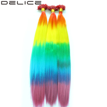 [DELICE] 100 Strands 16inch Rainbow Ombre Straight Synthetic Grizzly I-Tip Hair Extensions With Silicone Beads Free