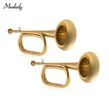 Muslady 2pcs/ Pack Brass Bugle B Flat Cavalry Horn Trumpet with Mouthpiece Gold