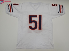 Embroidered Logo Dick Butkus 51 blue white throwback high school FOOTBALL JERSEY for fans gift cheap 1107-9(China)