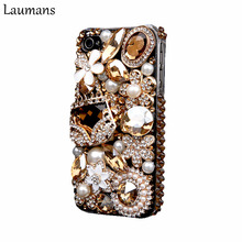 Laumans Mobile phone cover for iPhone 6 6s Case Bling Gold Crystal Flower Bag Diamond Rhinestone Cover for iphone 7 7 plus 4s 5s