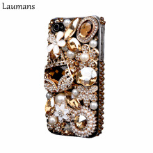 Laumans Mobile phone cover for iPhone 6 6s 7 plus Case Bling Gold Crystal Flower Bag Diamond Rhinestone Cover for iphone X 8plus(China)