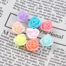 Free Shipping 200Pcs Mixed Acrylic Flower charm Beads Flatback Cabochon Scrapbooking Craft Fit diy 12x12mm WS-18-2(China)