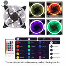 120*120*25mm DC 12V Computer PC Case Cooling Fan RGB LED Light Cooler Radiator Quiet Ventilador with IR Remote Controller(China)