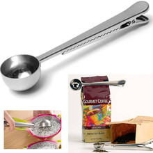 Hot Style universal Heathful Cooking Tool Stainless 1 Cup Ground Coffee Measuring Scoop Spoon with Bag Sealing Clip Good Helper(China)