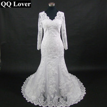 QQ Lover 2017 New Long Sleeve Mermaid Lace Wedding Dress Sexy V-neck Beaded Applique Wedding Bride Dress Vestido De Noiva(China)