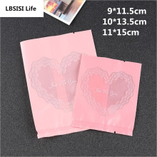 100Pcs Thicker Love Pink Heart Just For You Frosted Food Biscuit DIY Baking Cake Bags Gift Cookie Packing Flat Plastic Bag(China)