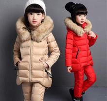 New 2017 Winter Children's Thickening Cotton Padded Clothes 3 Pcs Set For Cold Weather Girls Velvet Wadded Jacket +Tops+Pants