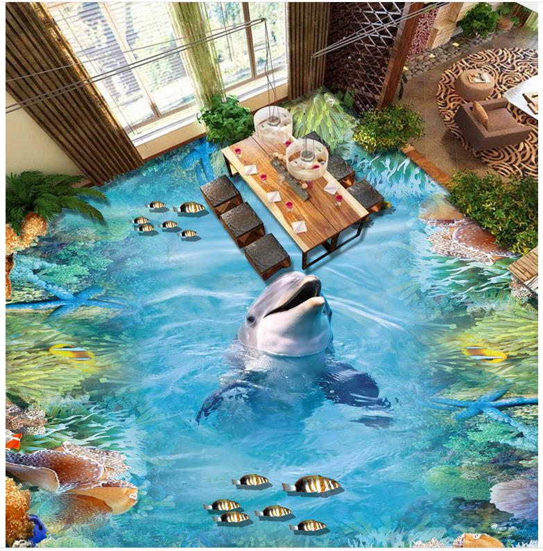 Dolphin 3D wallpaper 3d floor murals PVC waterproof floor Photo floor wallpaper 3d stereoscopic PVC waterproof floor  <br>