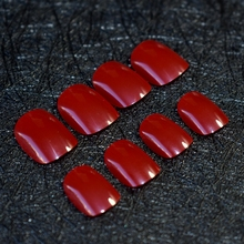 New Arrival Kids Cute Red Wine Acrylic False Nails Short Round Candy Artificial Nail Art Tips without Glue Sticker 156k(China)