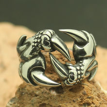 316L Stainless Steel Cool Silver Dragon Silver Claw Ring Factory Price(China)
