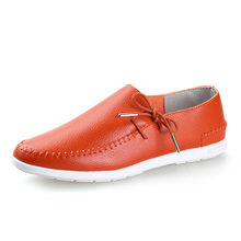 Soft Leather Moccasins Men Shoes Casual Men Loafers Slip On Orange Blue Red White(China)