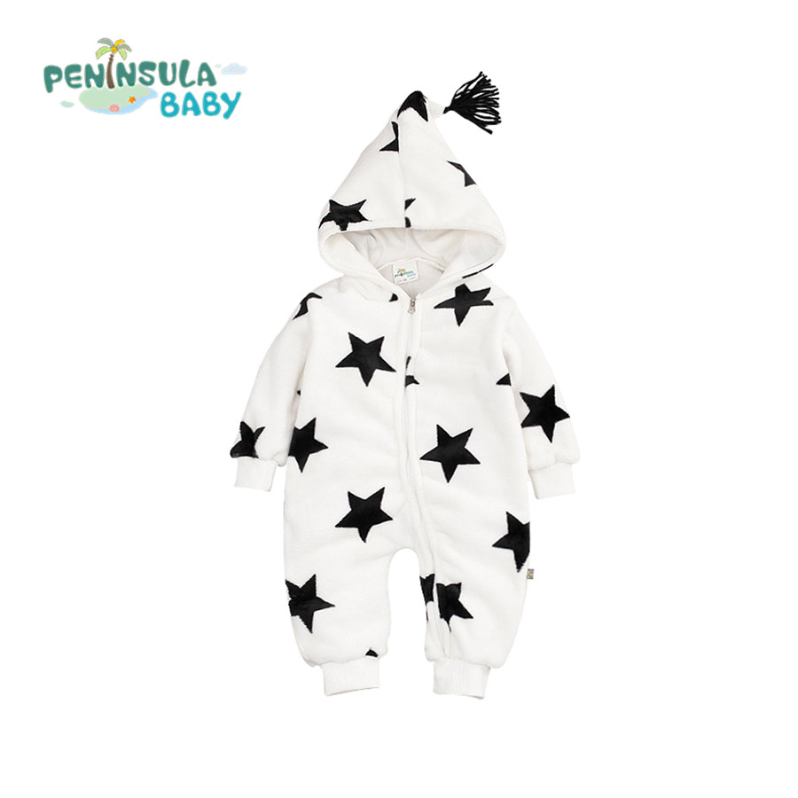 Baby Rompers Winter Cotton And Coral Velvet Thick Warm Hooded Dot/Star Jumpsuits Boys Girls Out Clothes For Newborns Body Suit <br><br>Aliexpress