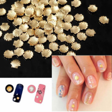 100pcs/bag 3mm Size Women DIY Metal Gold Sliver Color 3d Nail Art Decorations Shell Shape Nails Decor Tools Sticker