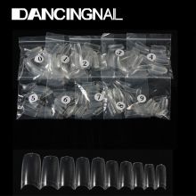 Wholesale French 500Pcs Clear Half Transparent Acrylic UV Gel Manicures Fake False Nails Nail Art Tips Tools