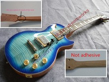 China OEM firehawk LP OEM Tiger Flame blue Electric guitar luxury finished way with Chrome hardware!There have video