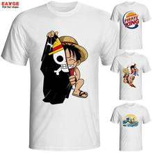 Brand T Shirt Men T-shirt Funny Luffy T Shirts Clothing Mens Anime One Piece Tee Shirt Zoro And Nami White O-neck Printed Tshirt