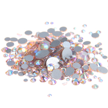 Champagne AB Non Hotfix Crystal Rhinestones Flatback Round Facet Strass Stones Shiny Glue On Glass Chatons DIY Nail Art Supplies