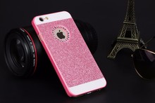 Shinning Logo Window Coque Sparkling Phone Cases for iPhone 4 4S 5 5S SE 6 6S 6 7 Plus 6s plus Glitter Diamond Hard plastic Case