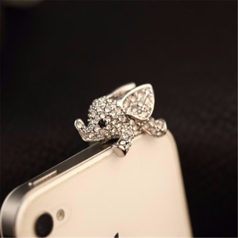 Cute Elephant with crystal Anti Dust Plug Caps cell Phone Accessories 3.5mm Earphone Jack plug for iphone7 6 6s for Xiaomi Redmi(China (Mainland))