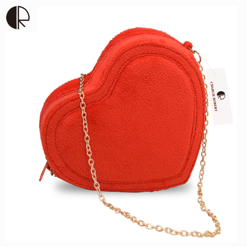 New Women Fashion Candy Color Loved Hearts shape Messenger Bags Vintage Casual Lady Solid Velour Single Chains Handbags<br><br>Aliexpress