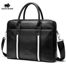 BISON DENIM luxury brand genuine leather bag men handbag business men briefcase laptop bags