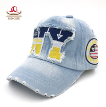 Hotsale NY Embroidered Denim Baseball Cap Children Caps Pupils Hats Boy Girls Casual Baseball Hats Peaked cap