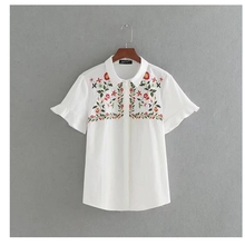 2017 New vestidos Women retro position embroidery floral Blouses Shirts butterfly sleeve brand Feminine BlusasTops LS1230(China)
