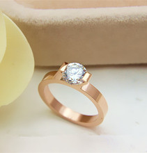Real 18K 750 Rose Gold Ring for Her 1Ct Round Cut Diamond Ring Elegant Female Marriage Fine Gold Jewelry for Wedding
